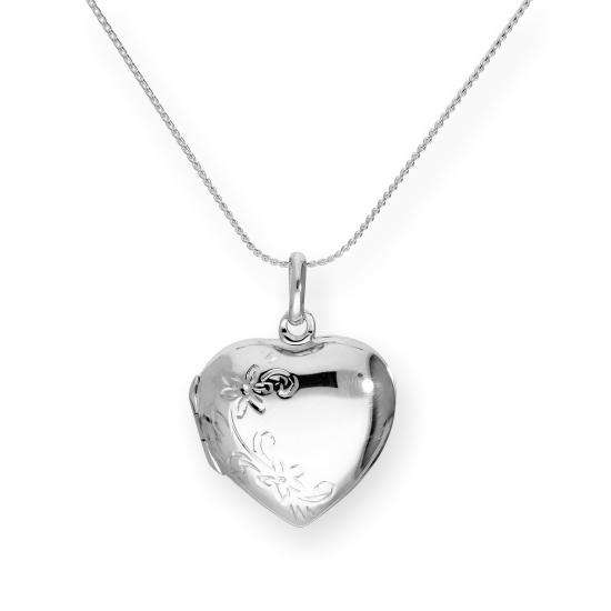 Sterling Silver Engravable Floral Heart Locket on Chain 16 - 22 Inches