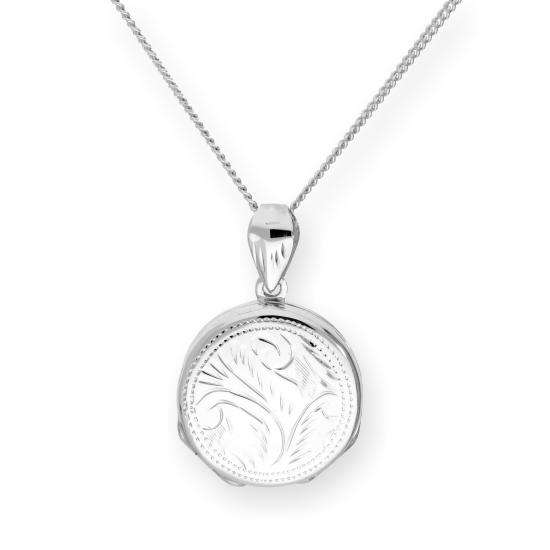 Sterling Silver 4 Photo Engraved Round Family Locket on Chain 16 - 24 Inches