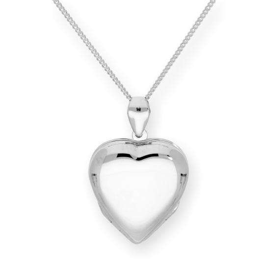 Large Sterling Silver 4 Photo Engravable Heart Family Locket on 16-24 Inch Chain