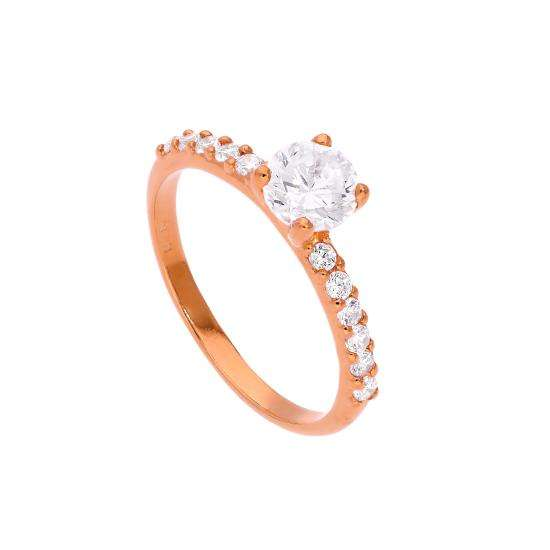 Rose Gold Plated Sterling Silver & Clear CZ Crystal Ring Size J - W