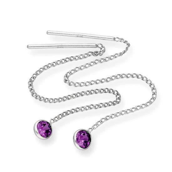 Sterling Silver & Round Amethyst CZ Crystal February Birthstone Pull Thru Earrings