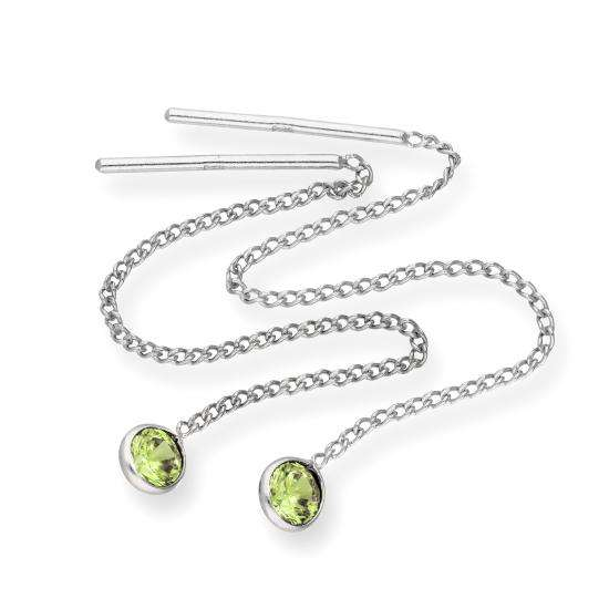 Sterling Silver & Round Peridot CZ Crystal August Birthstone Pull Thru Earrings