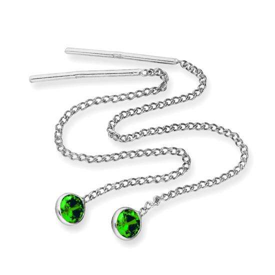 Sterling Silver & Round Emerald CZ Crystal May Birthstone Pull Thru Earrings