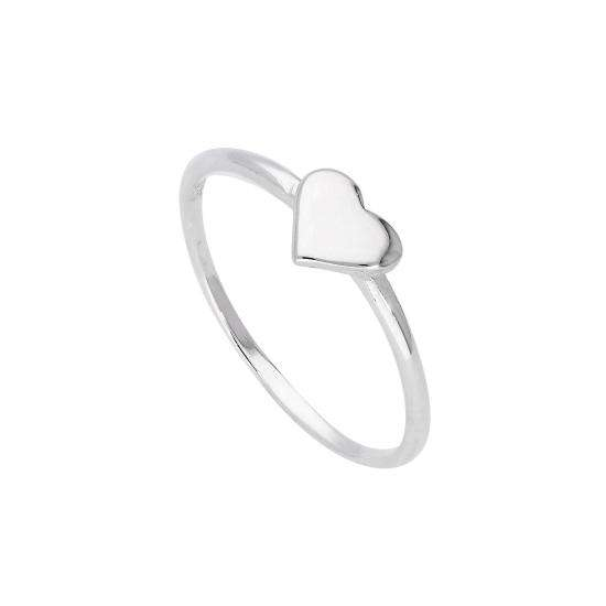 Sterling Silver Heart Ring Size J - W
