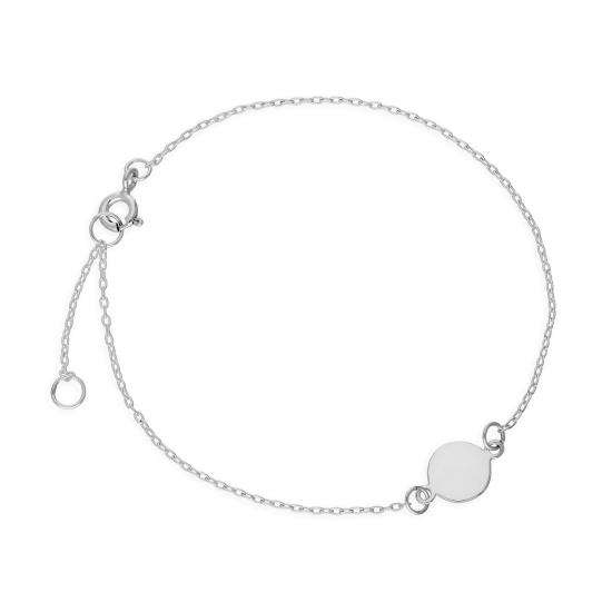 Sterling Silver 7 Inch Bracelet w Engravable Circle