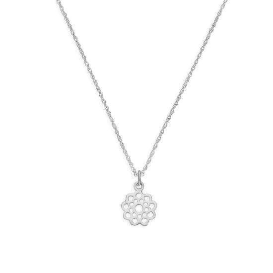 Sterling Silver Open Flower Pendant Necklace 14 - 22 Inches