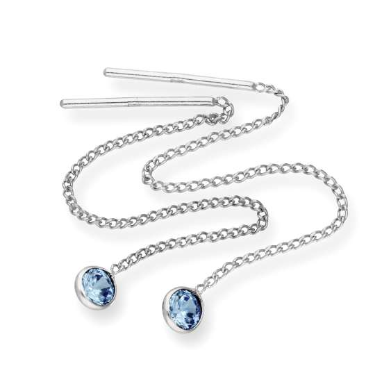 Sterling Silver & Round Blue Zircon CZ Crystal December Birthstone Pull Thru Earrings