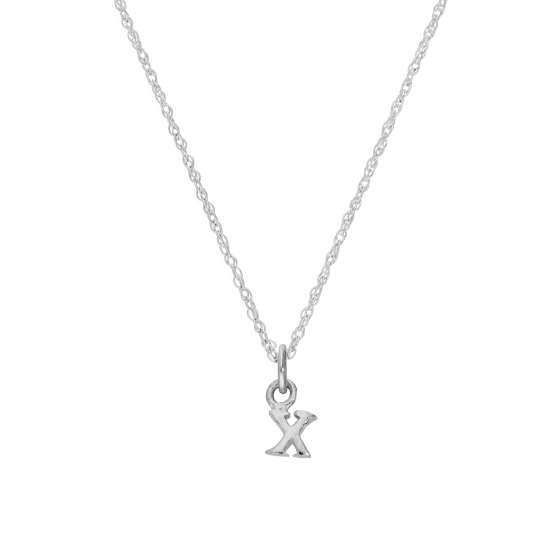 Tiny Sterling Silver Alphabet Letter X Pendant Necklace 14 - 22 Inches