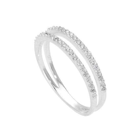 Sterling Silver & Clear CZ Crystal Double Band Ring Size J - W