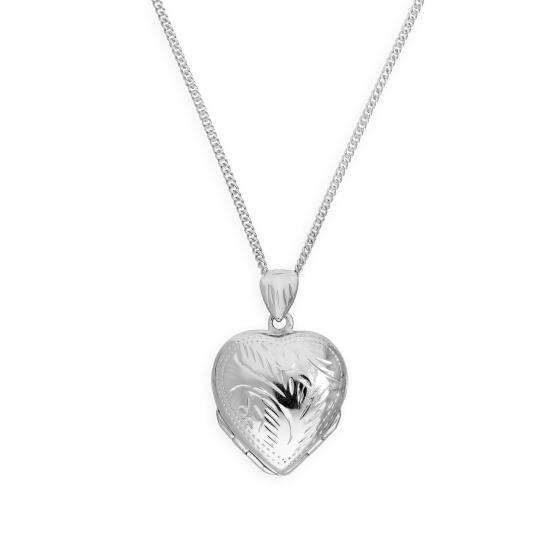 Small Sterling Silver 4 Photo Engraved Heart Family Locket on Chain 16 - 24 Inches