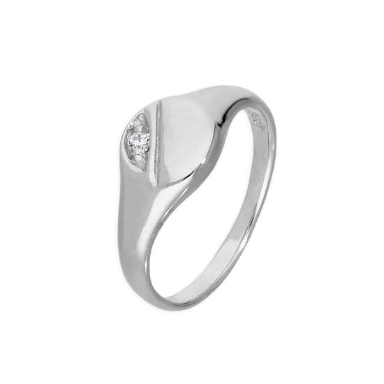 Sterling Silver & Clear CZ Crystal Engraved Round Childs Signet Ring Size A - H