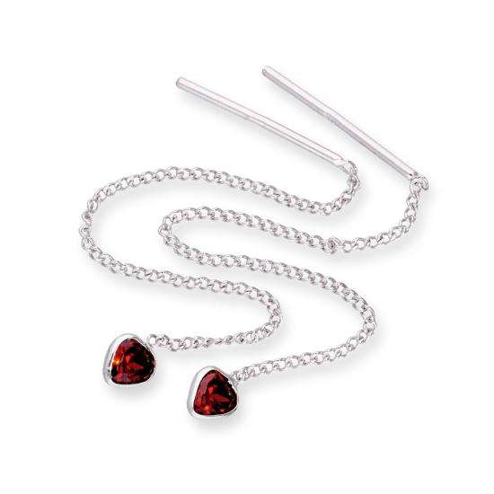 Sterling Silver & Garnet CZ Crystal Heart January Birthstone Pull Thru Earrings