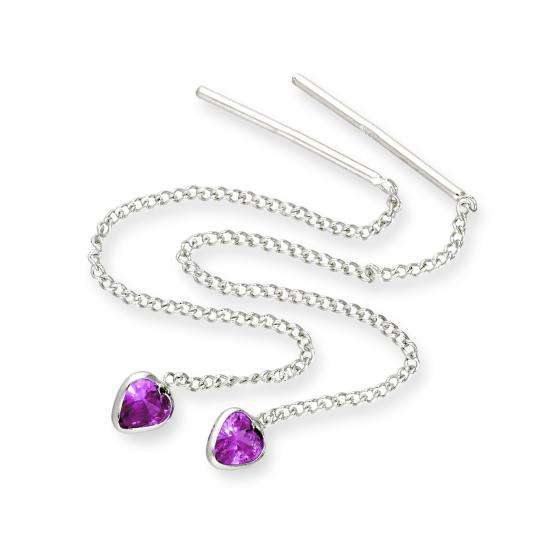 Sterling Silver & Amethyst CZ Crystal Heart February Birthstone Pull Thru Earrings