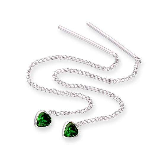 Sterling Silver & Emerald CZ Crystal Heart May Birthstone Pull Thru Earrings