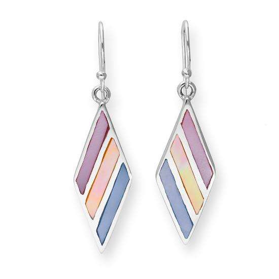 Sterling Silver & Pastel Coloured Mother of Pearl Diamond Shape Dangle Drop Earrings