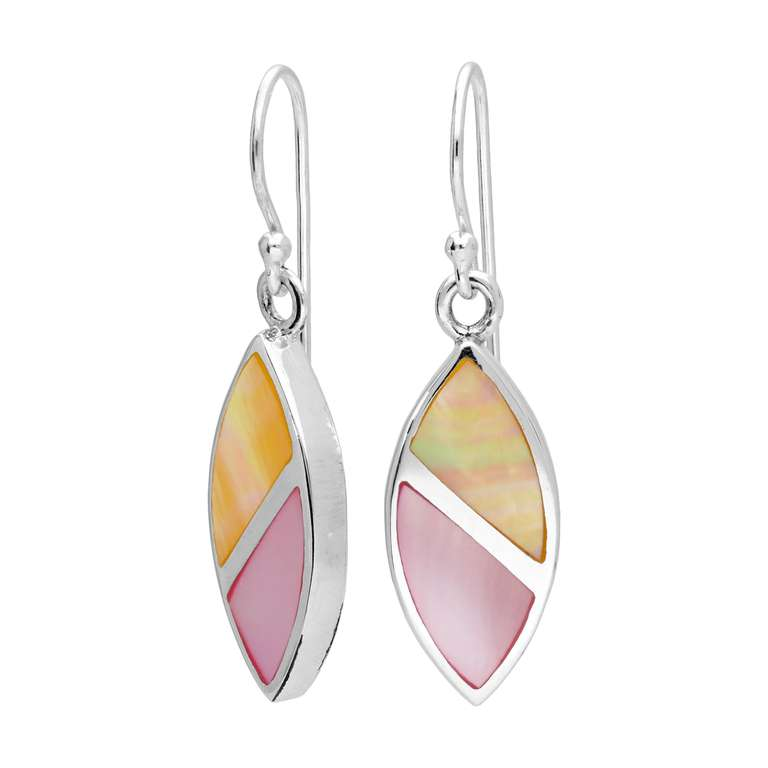 Sterling Silver & Pastel Coloured Mother of Pearl Oval Dangle Drop Earrings
