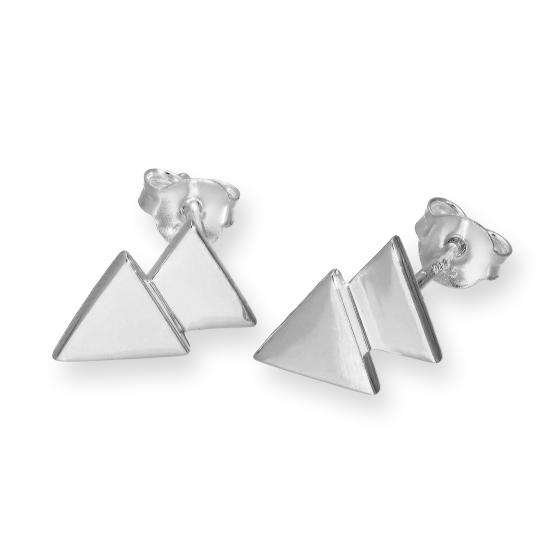 Sterling Silver Double Triangle Stud Earrings