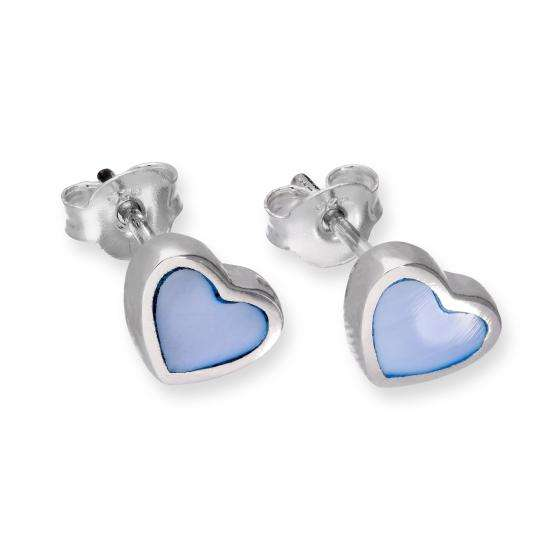 Sterling Silver & Blue Mother of Pearl Heart Stud Earrings