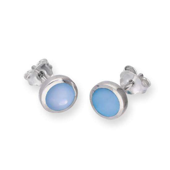 Sterling Silver & Blue Mother of Pearl Round Stud Earrings