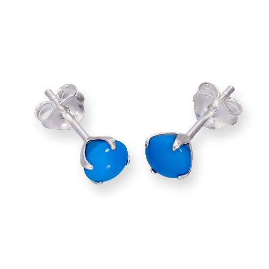 Sterling Silver & Turquoise Colour Stud Earrings