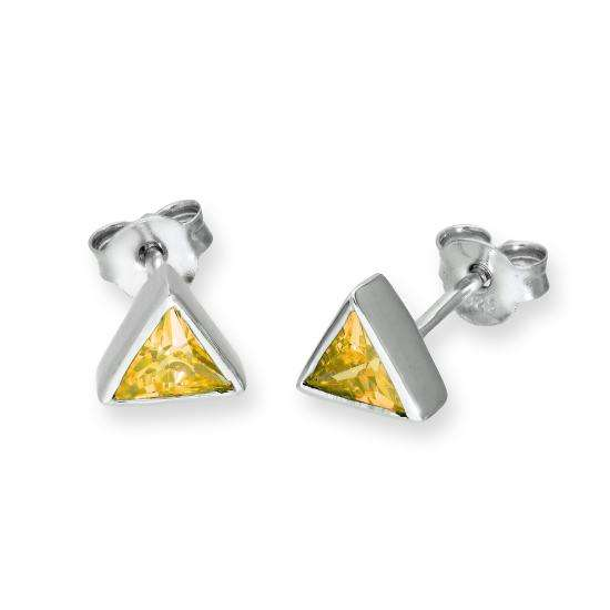 Sterling Silver & Citrine CZ Crystal Triangle November Birthstone Stud Earrings