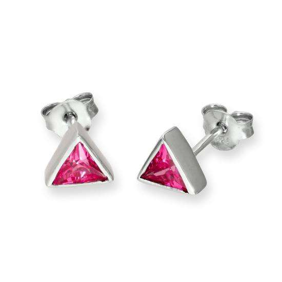 Sterling Silver & Tourmaline CZ Crystal Triangle October Birthstone Stud Earrings