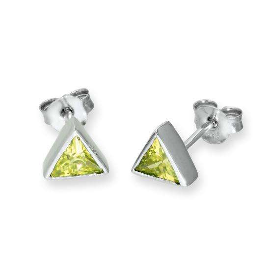 Sterling Silver & Peridot CZ Crystal Triangle August Birthstone Stud Earrings