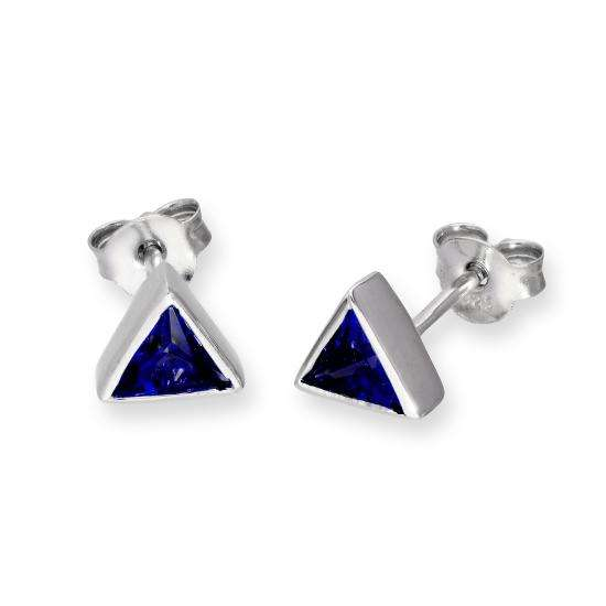 Sterling Silver & Sapphire CZ Crystal Triangle September Birthstone Stud Earrings