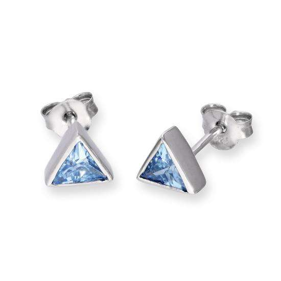 Sterling Silver & Tanzanite CZ Crystal Triangle December Birthstone Stud Earrings