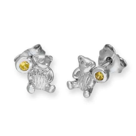 Sterling Silver Teddy Bear & Citrine CZ Crystal November Birthstone Stud Earrings