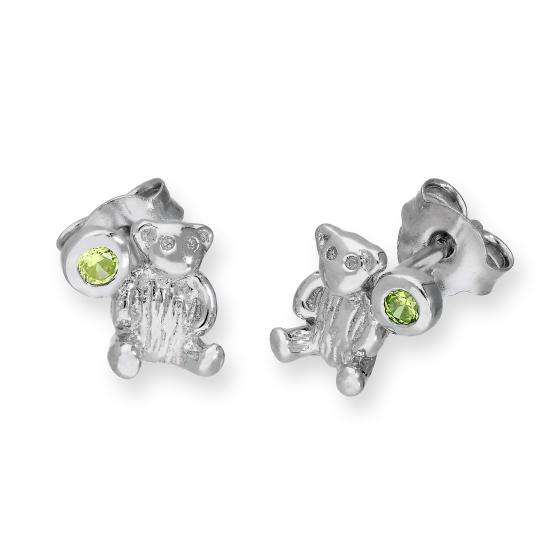 Sterling Silver Teddy Bear & Peridot CZ Crystal August Birthstone Stud Earrings