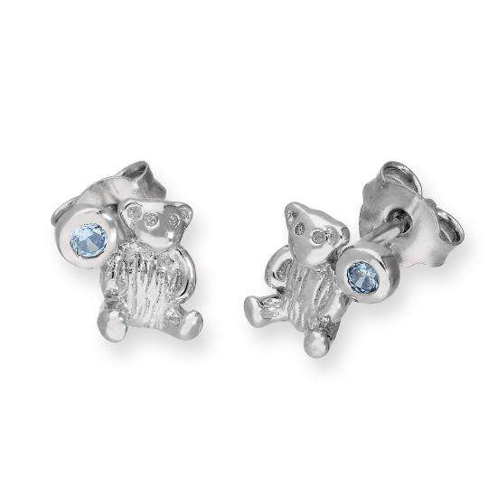 Sterling Silver Teddy Bear & Tanzanite CZ Crystal December Birthstone Stud Earrings