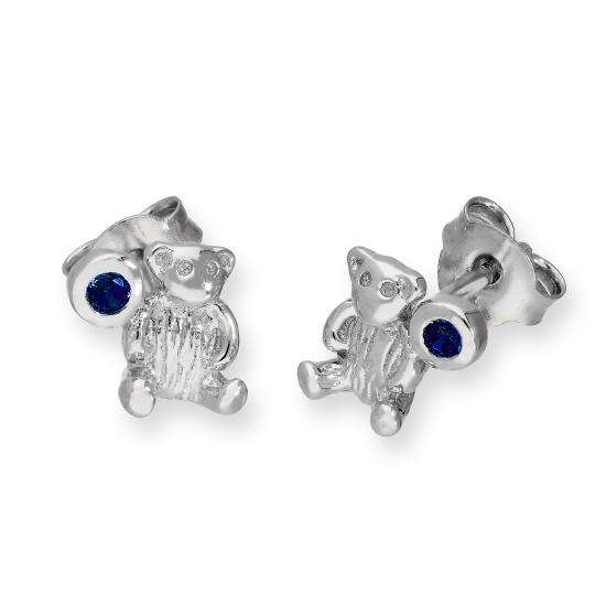 Sterling Silver Teddy Bear & Sapphire CZ Crystal September Birthstone Stud Earrings