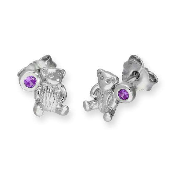 Sterling Silver Teddy Bear & Amethyst CZ Crystal February Birthstone Stud Earrings