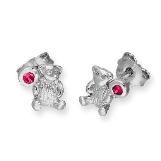 Sterling Silver Teddy Bear & Ruby CZ Crystal July Birthstone Stud Earrings