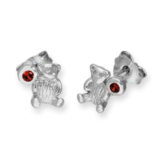 Sterling Silver Teddy Bear & Garnet CZ Crystal January Birthstone Stud Earrings