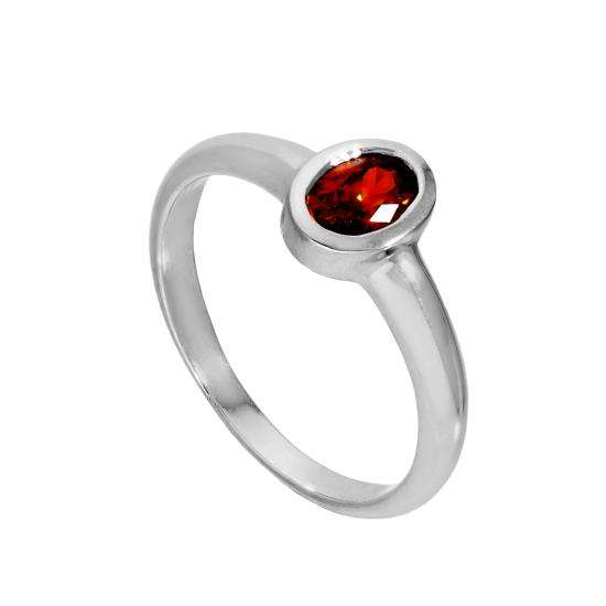 Sterling Silver & Garnet CZ Crystal Oval January Birthstone Ring Sizes J - U