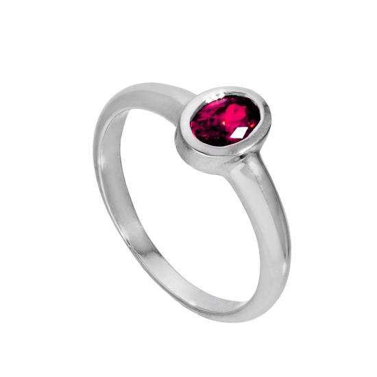 Sterling Silver & Ruby CZ Crystal Oval July Birthstone Ring Sizes J - U