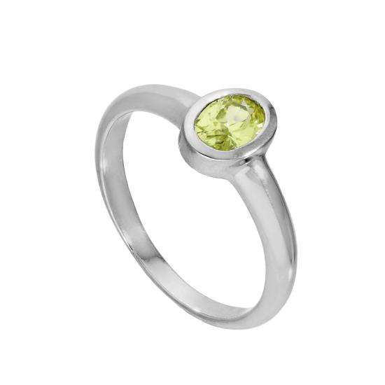 Sterling Silver & Peridot CZ Crystal Oval August Birthstone Ring Sizes J - U