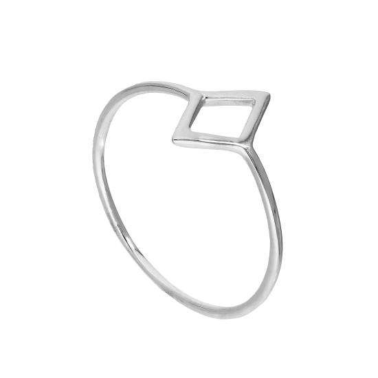 Sterling Silver Open Diamond Shape Ring Sizes J - V