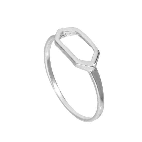 Sterling Silver Open Hexagon Ring Sizes J - V