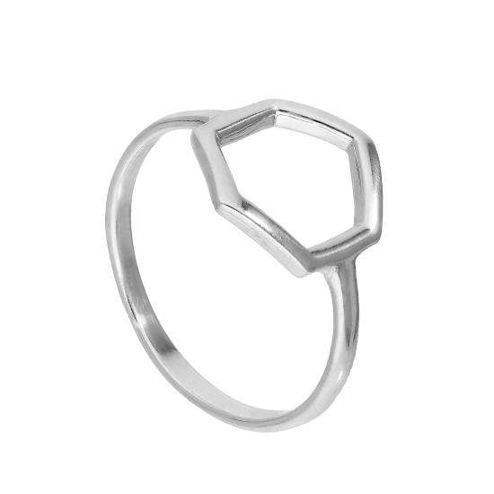 Sterling Silver Large Open Hexagon Ring Sizes J - V