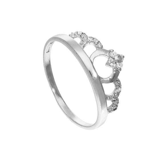 Sterling Silver & Clear CZ Crystal Tiara Ring Sizes J - U