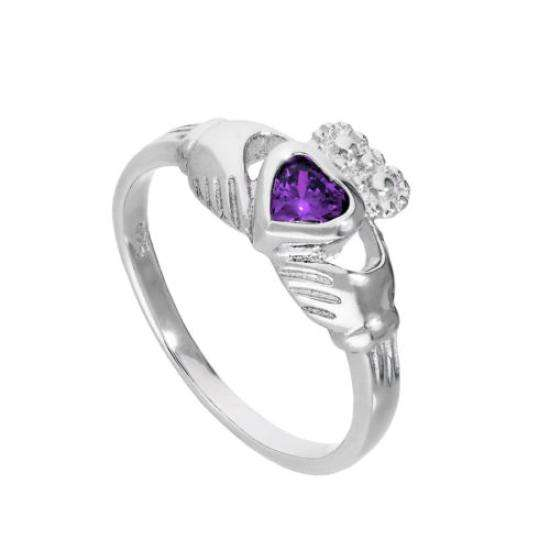 Sterling Silver & Amethyst CZ Crystal February Birthstone Claddagh Ring I - U