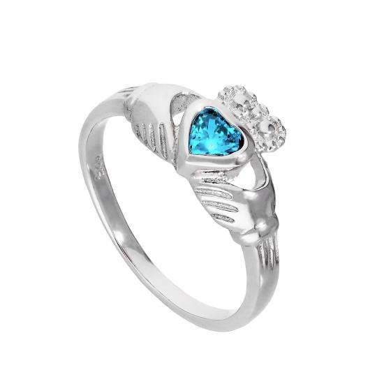 Sterling Silver & Aquamarine CZ Crystal March Birthstone Claddagh Ring I - U