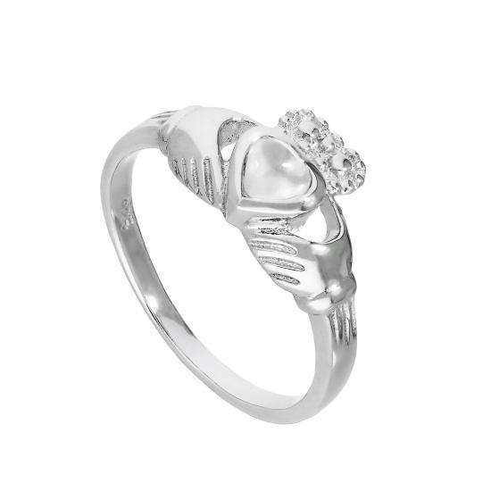 Sterling Silver & Moonstone June Birthstone Claddagh Ring Sizes I - U