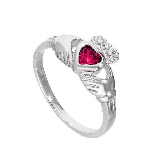 Sterling Silver & Ruby CZ Crystal July Birthstone Claddagh Ring Sizes I - U