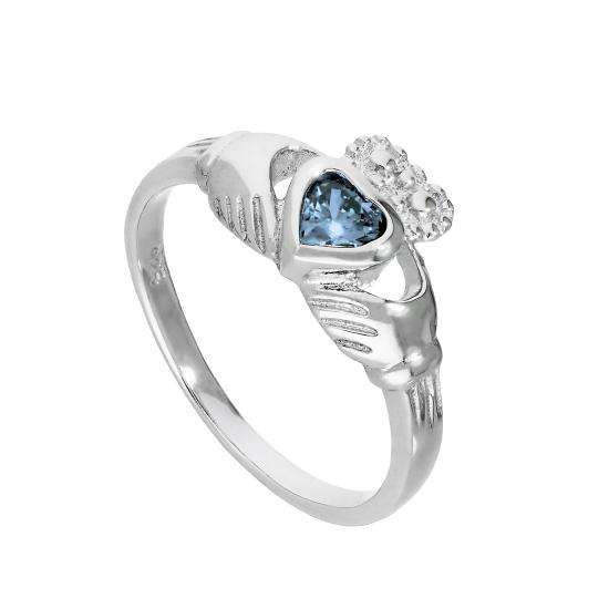 Sterling Silver & Tanzanite CZ Crystal December Birthstone Claddagh Ring I - U