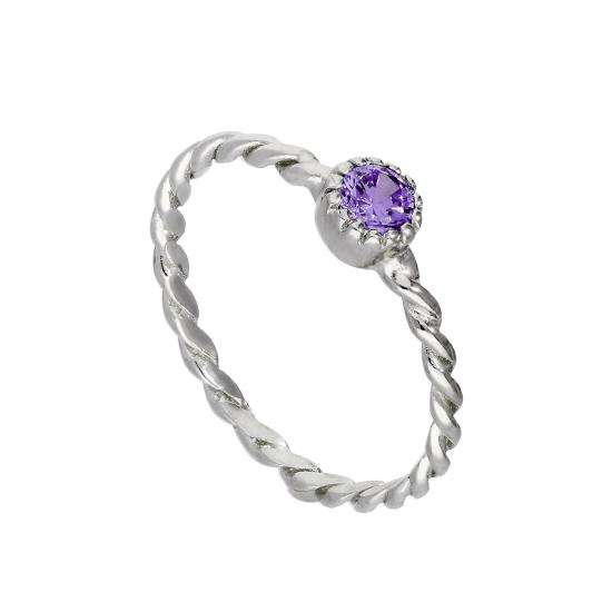 Sterling Silver & Amethyst CZ Crystal February Birthstone Twisted Rope Ring I - U