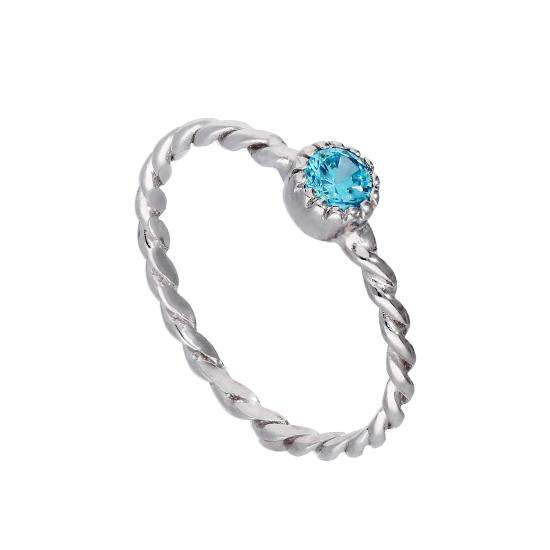 Sterling Silver & Aquamarine CZ Crystal March Birthstone Twisted Rope Ring I - U
